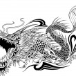 Dragon Doodle Sketch Tattoo Vector — Stock Vector #19724985