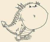 Doodle Dragon Dinosaur Vector Illustration Art — Vetorial Stock