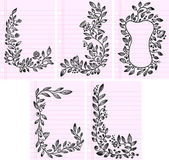Sketch Flower Vines Frame and Boarder Vector Set — Stock Vector