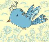 Doodle illustrazione vettoriale uccello blu — Vettoriale Stock
