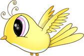 Cute Little Yellow Bird Vector Art — Stock Vector