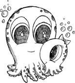 Bonito desenho doodle arte vetorial de polvo — Vetorial Stock