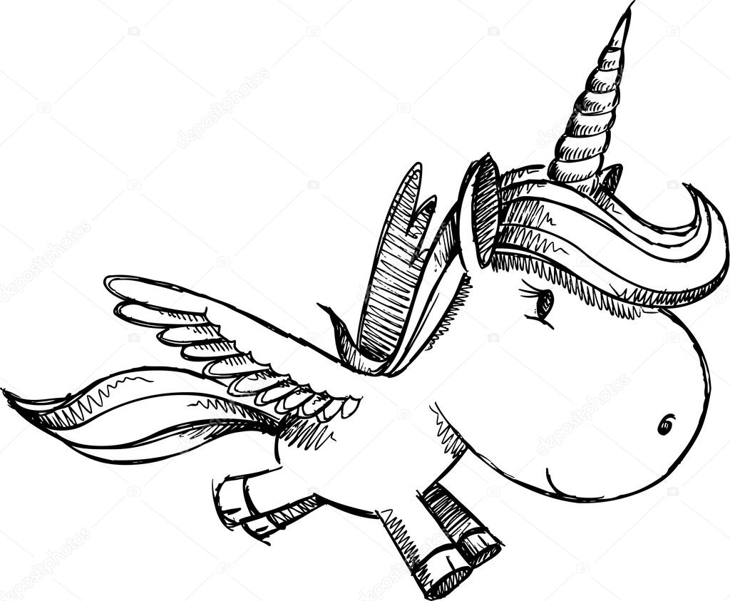 素描涂鸦独角兽飞马座 alicorn 艺术 — 图库矢量图像© misterelements 22422441