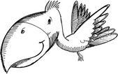 Tropenvogel skizze doodle — Stockvektor