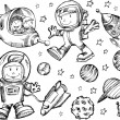 Outer Space Sketch Doodle Vector Set — Stock vektor