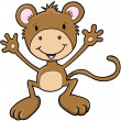 Cute Monkey Ape Vector Art - Stock Vector