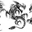 Iconic Dragons border frames Tattoo Tribal Vector Set — Stock vektor