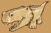 Alligator Sketch Doodle Vector Art — Stock Vector