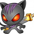 Cute Kitten Warrior Ninja Vector — Stock Vector