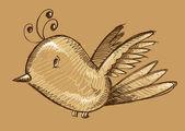 Sevimli kuş kroki çizim sanat doodle — Stok Vektör
