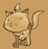 Kitten Cat Sketch Doodle Illustration Art — Stockvektor