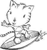 Surfer Tiger Kitten Cat Sketch Doodle Illustration Art — Stock Vector