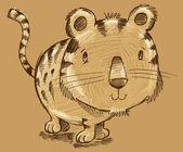 Tygří kotě kočky skica doodle ilustrace umění — Stock vektor