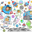 Cute Outer Space Vector Illustration Design Vector Set — Stockvektor