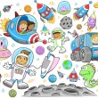 schattig outer space vector illustratie vector ontwerpset — Stockvector