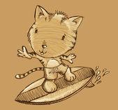 Surfer tijger kitten kat schets doodle illustratie vector kunst — Stockvector