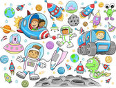 Cute Outer Space Vector Illustration Design Vector Set — Stock Vector