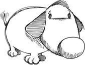 Sketch Doodle Cute Puppy Dog Vector — Stock Vector