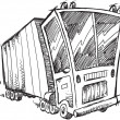 Sketch Doodle Truck Vector Illustration Art — Stock Vector