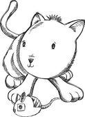Kitten Sketch Doodle Vector Cat Illustration Art — Stock Vector