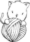 小猫素描涂鸦矢量猫插画艺术 — 图库矢量图片
