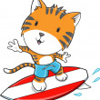 Royalty-Free Stock Vector Image: Surfing Tiger Vector Illustration Art
