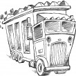 Doodle Sketch Dump Truck Vector Illustration Art — Vettoriali Stock