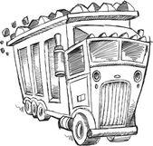 Doodle Sketch Dump Truck Vector Illustration Art — Stock Vector