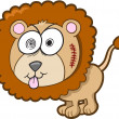 Crazy Insane Lion Vector Illustration Art — Stock Vector