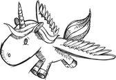 Tek boynuzlu at midilli vektör doodle kroki — Stok Vektör