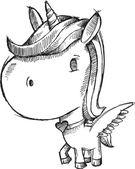 素描涂鸦独角兽小马矢量 — 图库矢量图片