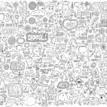 Doodle Sketch Animals People Flowers Set — Stock Vector