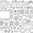 Stock Vector: Happy Peace Love Flower Doodle Vector Set