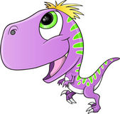 Cute Purple Raptor Dinosaur Vector Illustration — Stock Vector