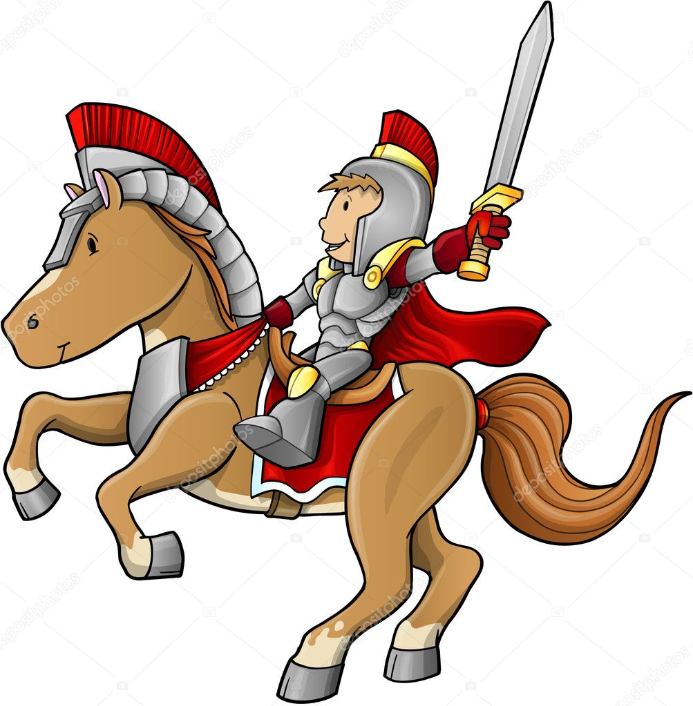 Hero Knight Warrior on Horse Vector Illustration — Stock ...