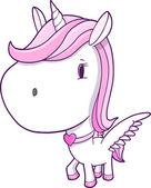Cute Unicorn Pegasus Vector Illustration Art — Stock vektor