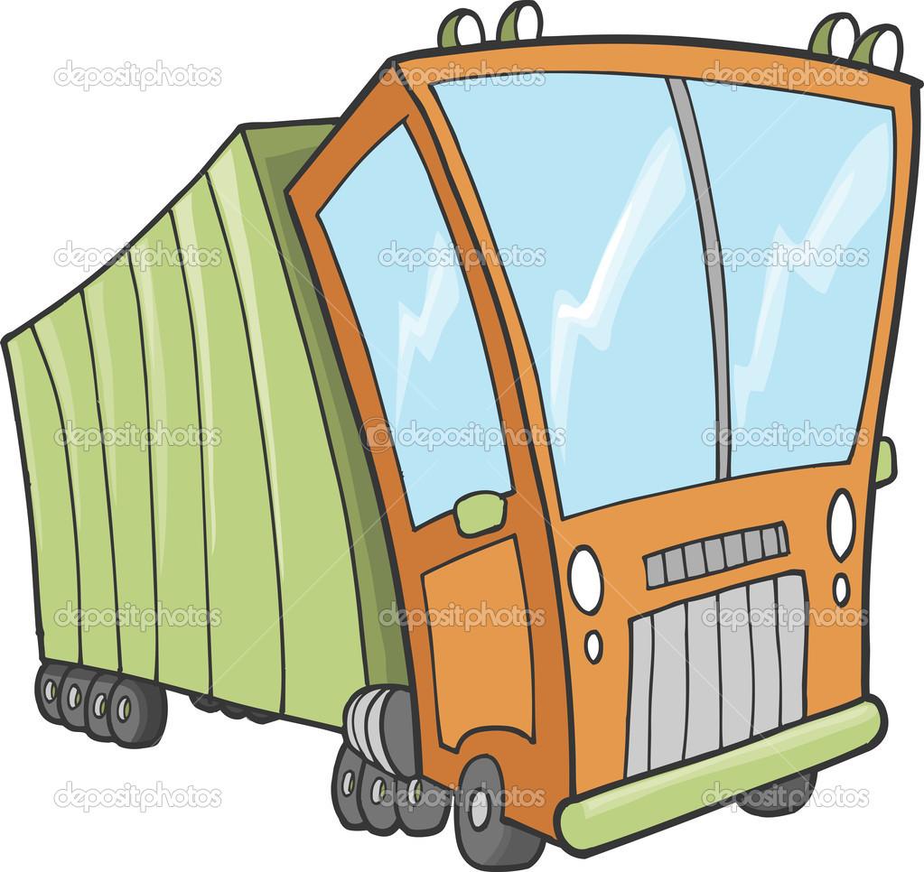 可爱的大卡车矢量插图艺术