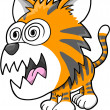 Crazy Insane Tiger Vector Illustration Art — Stock Vector