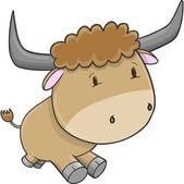 Söt bull boskap vektor illustration konst — Stockvektor