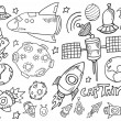Outer Space Doodle Sketch Vector Illustration Set — Stock Vector #32341279