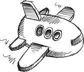 Schets doodle tekening jumbo jet vector kunst — Stockvector