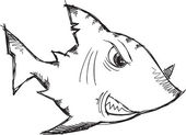 Sketch Doodle Drawing Shark Vector Art — ストックベクタ
