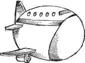Sketch Doodle Drawing Jumbo Jet Vector Art — Stock Vector