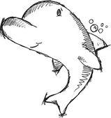 Cute Dolphin Sketch Drawing Vector — Stock Vector