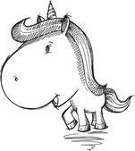 Sketch Doodle Unicorn Drawing Vector Art — Stok Vektör