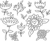 Doodle Sketch Flowers Spring Vector Set — Stock Vector