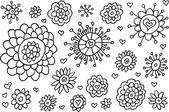 Doodle Sketch Flowers Spring Vector Set — Stock Vector