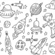 outer space schets doodle vector set — Stockvector
