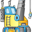 Stock Vector: Cute Construction Crane Truck Vector Illustration
