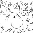 Cute Sea Creatures Doodle set Vector Illustration Art — Stock Vector